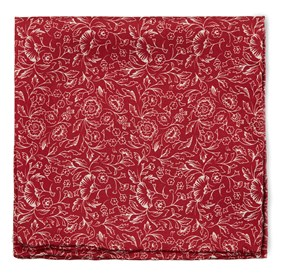 Red Bracken Blossom pocket square