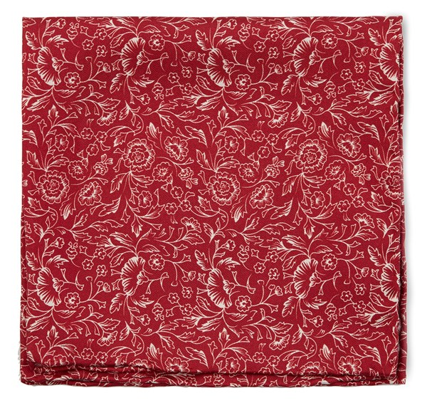 Bracken Blossom Red Pocket Square