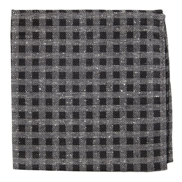 Black Cement Checks Pocket Square