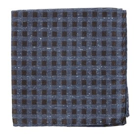 Brown Cement Checks pocket square