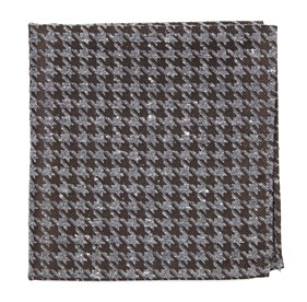 Chocolate Brown Houndstooth Thrill pocket square