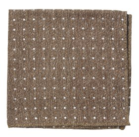 Brown Knotted Dots pocket square