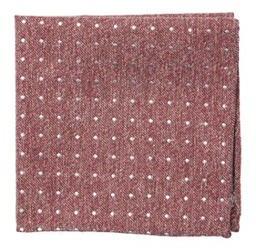 Raspberry Knotted Dots pocket square