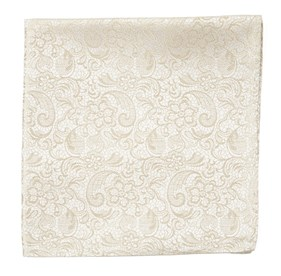 Light Champagne Ceremony Paisley pocket square