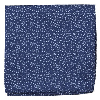 Music Notes Navy Pocket Square