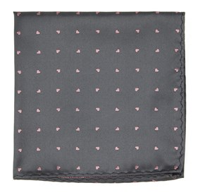 Heart To Heart Grey pocket square