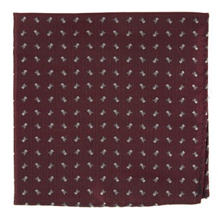 Mini Skull And Crossbones Burgundy Pocket Square
