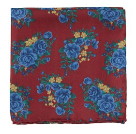 Apple Red Hinterland Floral pocket square