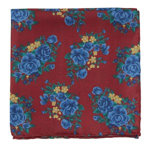hinterland floral apple red pocket square