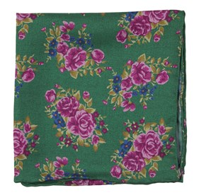 Kelly Green Hinterland Floral pocket square