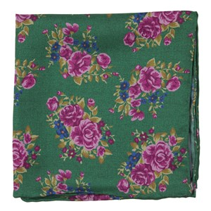hinterland floral kelly green pocket square