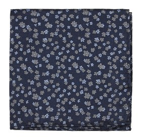 Navy Free Fall Floral pocket square