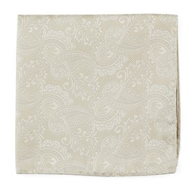 Light Champagne Twill Paisley pocket square