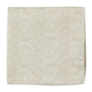 twill paisley light champagne pocket square