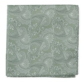 Moss Green Twill Paisley pocket square