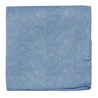 Twill Paisley Steel Blue Pocket Square