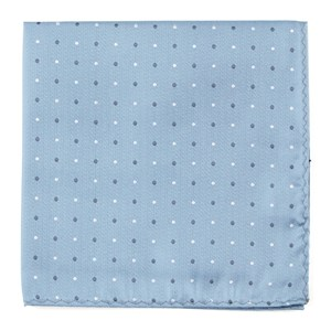 suited polka dots steel blue pocket square