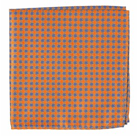 Tangerine Commix Checks pocket square