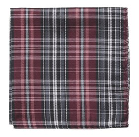 Motley Plaid Burgundy pocket square