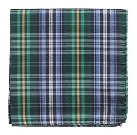 Green Motley Plaid pocket square