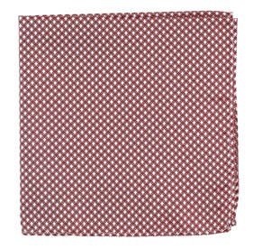 Burgundy Be Married Checks pocket square