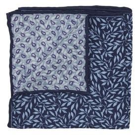 Navy Sprout Paisley pocket square
