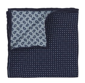 Navy Domino Paisley pocket square