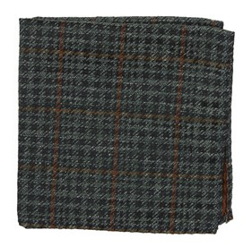Quinn Plaid Moss Green pocket square