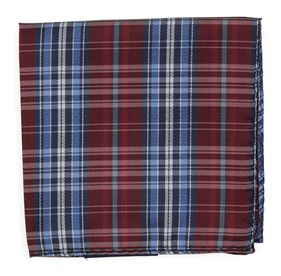 Red Motley Plaid pocket square