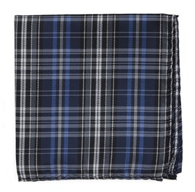 Navy Motley Plaid pocket square