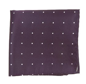 Satin Dot Eggplant pocket square