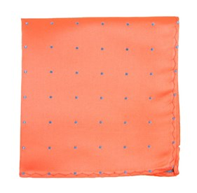 Coral Satin Dot pocket square