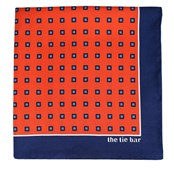 Pocket Squares - NOBLE GRID - VERMILLION ORANGE