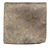 Pocket Squares - Twill Paisley - Champagne