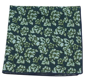 Serpentine Floral Deep Green Teal pocket square