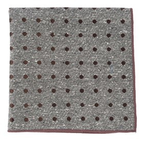 Brown Revolve Dots pocket square