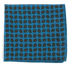 Ocean Blue Printed Brink Paisley pocket square