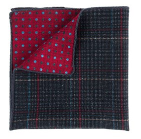 Plaid Flip Charcoal pocket square