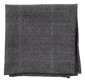 Academia Herringbone Grey pocket square
