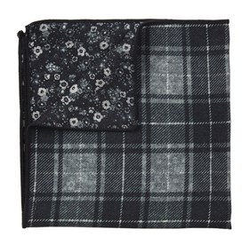 Merchants Row Floral Black pocket square
