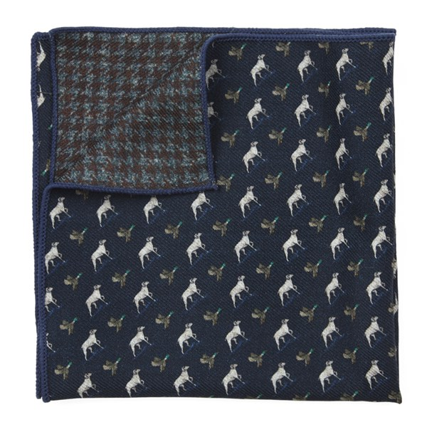 Navy Boldrewood Woolf Pocket Square