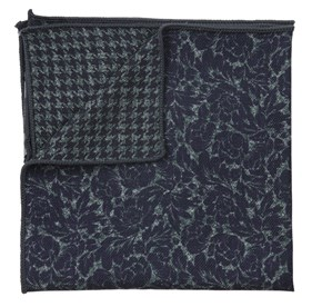 Kingsley Houndstooth Navy pocket square