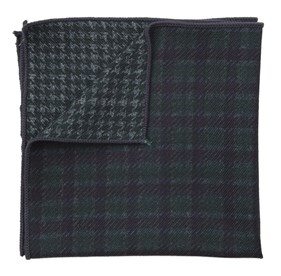 Wentworth Houndstooth Hunter Green pocket square