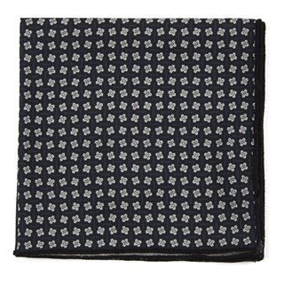 Pinwheel Print Black Pocket Square
