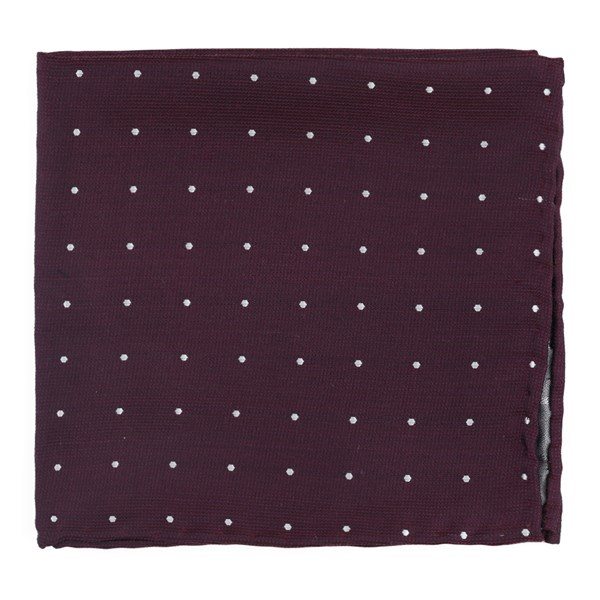 Wine Dotted Report Pocket Square