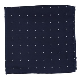 Navy Dotted Report pocket square