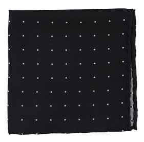 Dotted Report Black pocket square