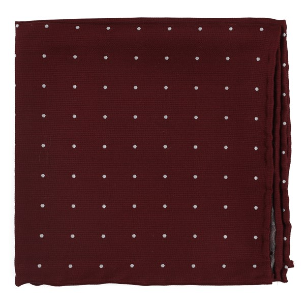Burgundy Dotted Report Pocket Square