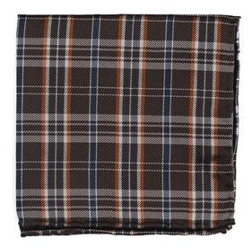 Andersen Plaid Brown pocket square