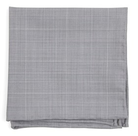 Silver Neutral Streak Plaid pocket square